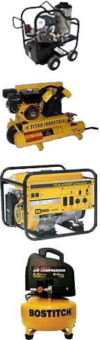 Pressure Washers, Generators, Air Compressors